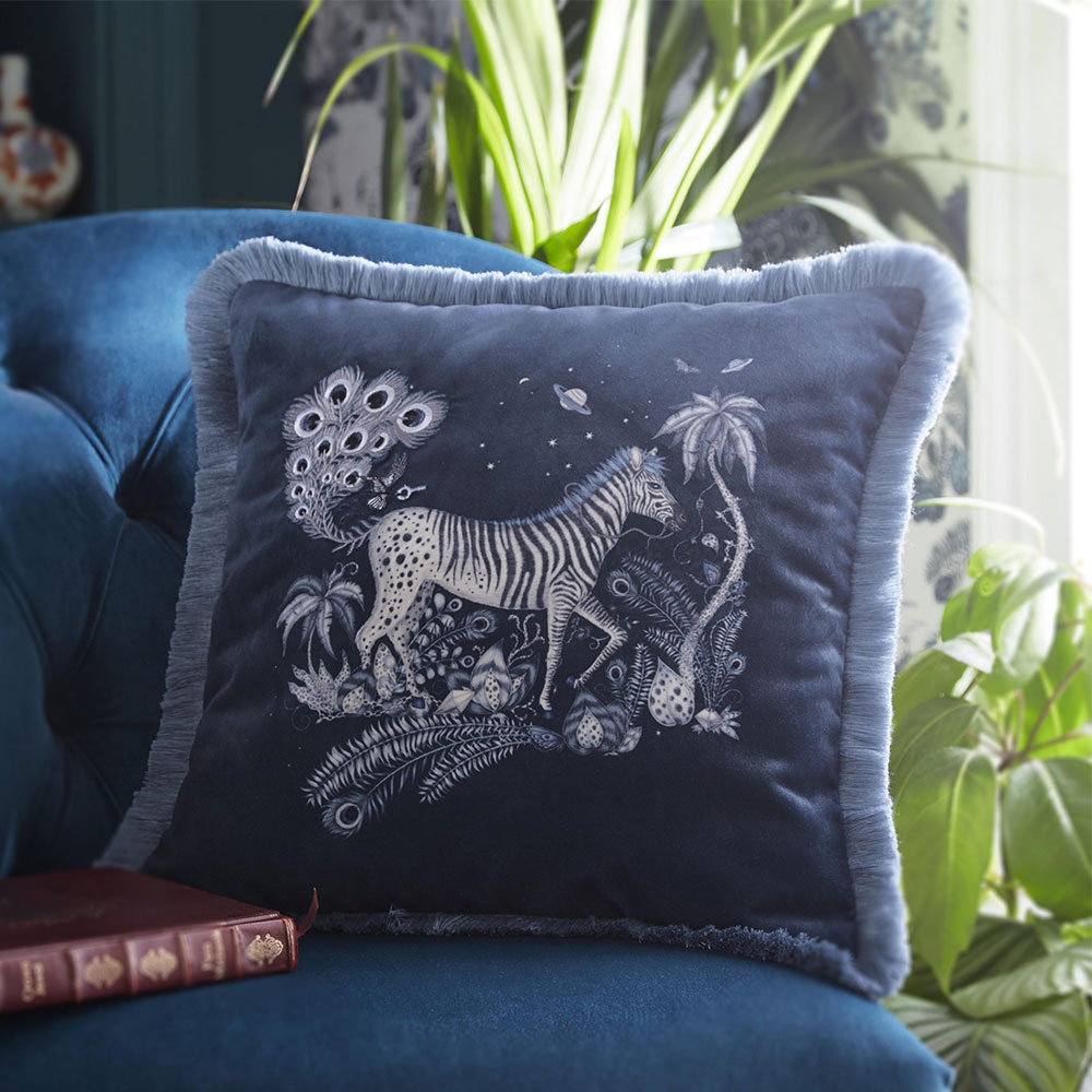 Lost World Square Cushion - Navy - by Emma J Shipley