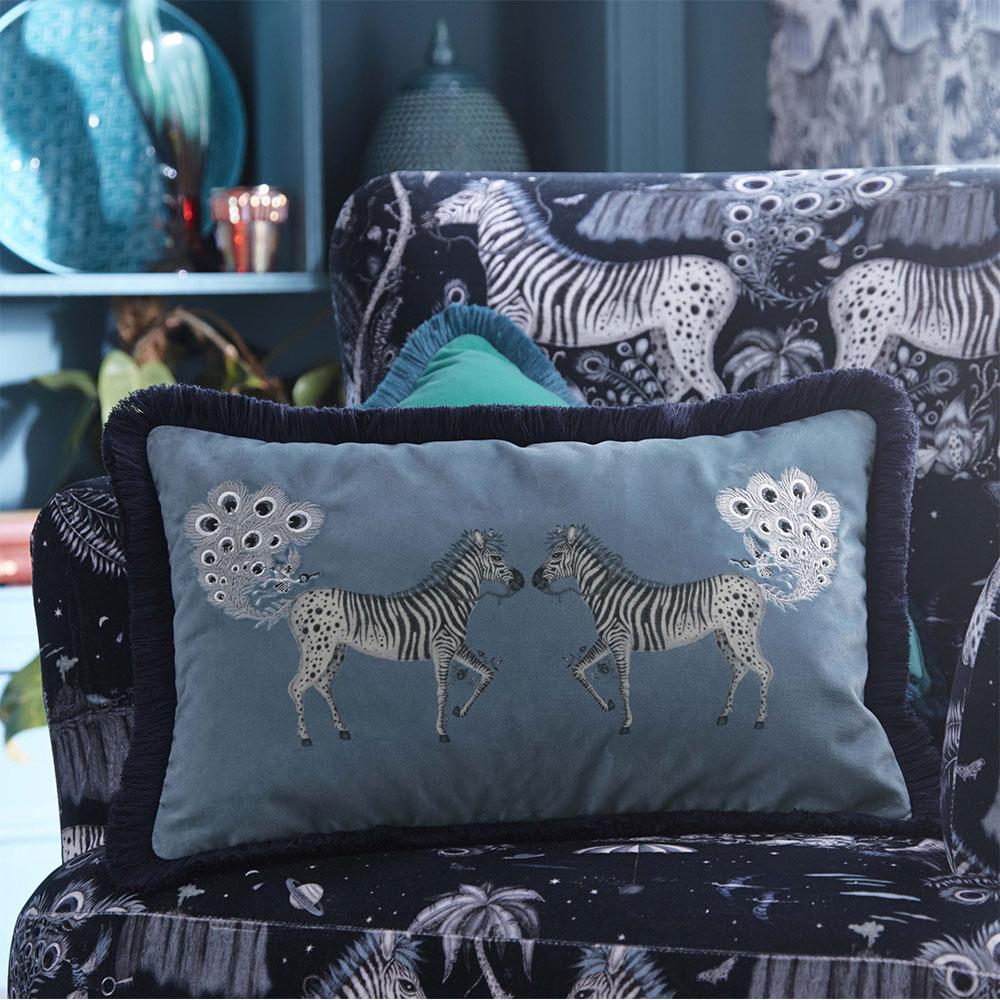 Lost World Rectangular Cushion - Blue - by Emma J Shipley