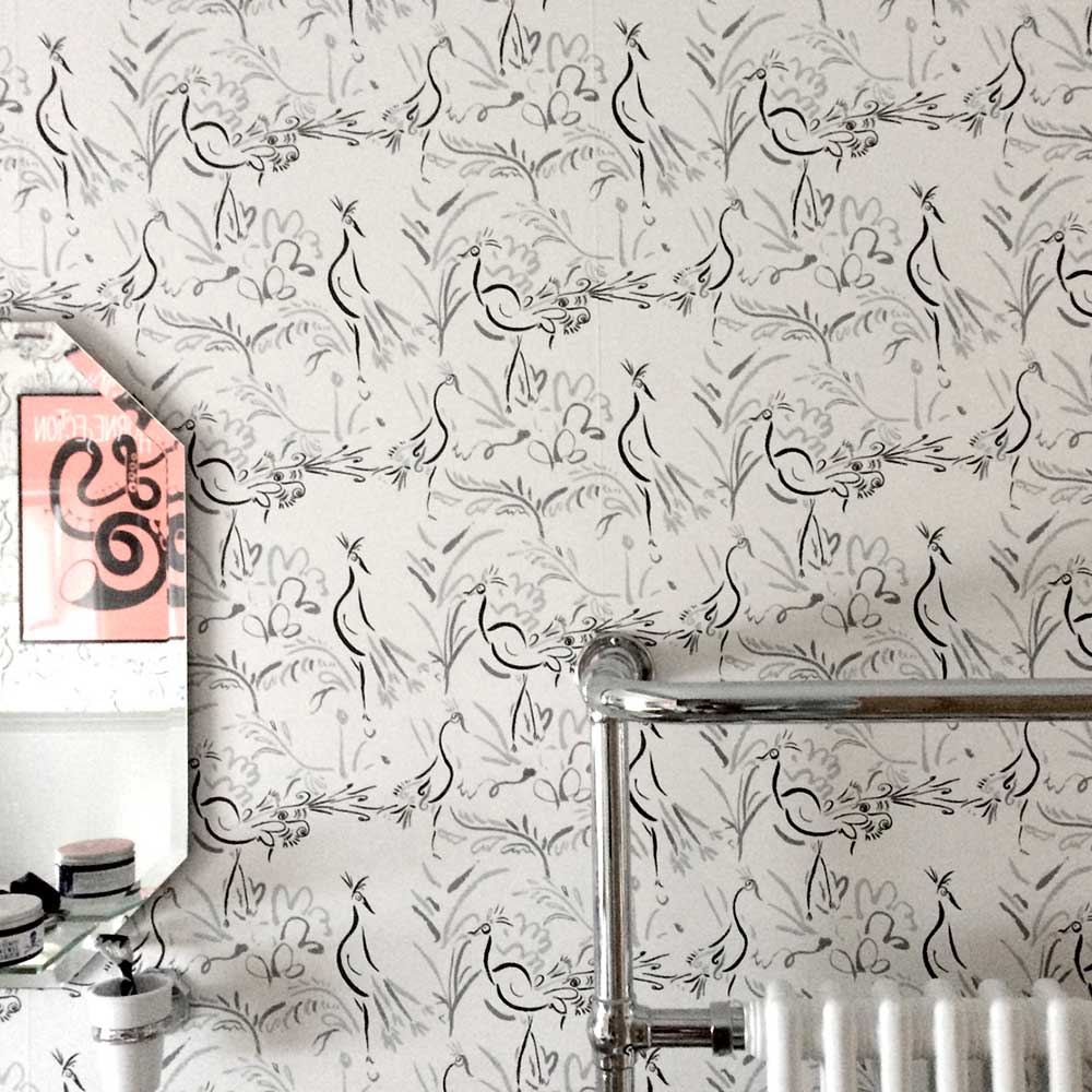 Birds Wallpaper - Black White - by Polly Dunbar Decoration