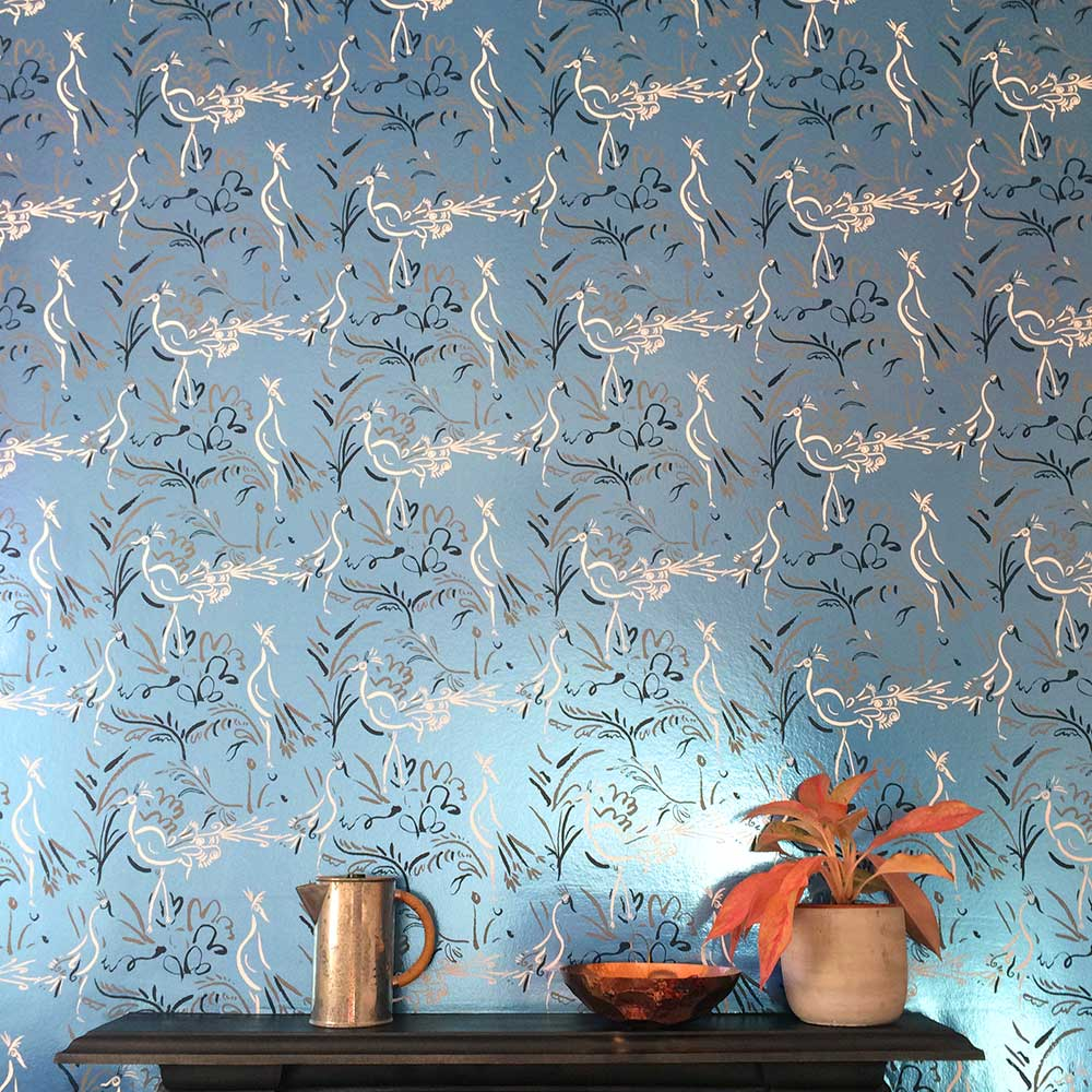 Birds Wallpaper - Silver Blue - by Polly Dunbar Decoration