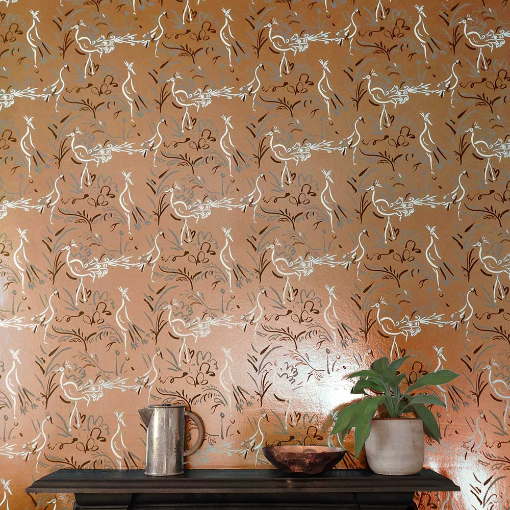 Birds Wallpaper - Copper Blush - by Polly Dunbar Decoration