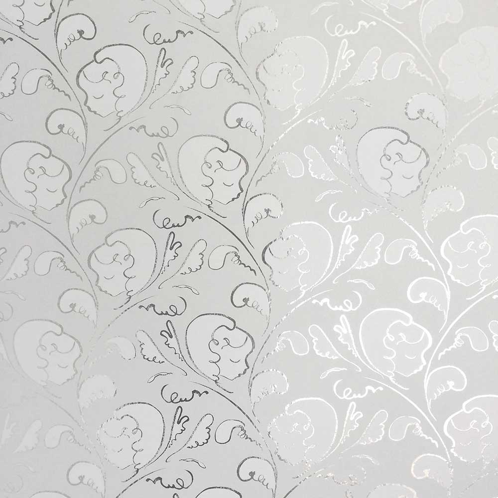Dream Wallpaper - Silver / Putty White - by Polly Dunbar Decoration