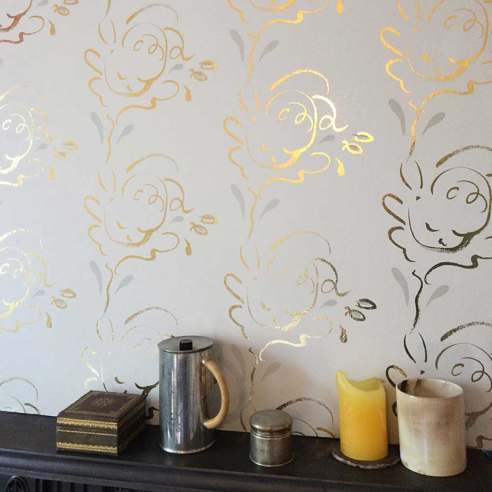 Seraph Wallpaper - Gold / French Grey - by Polly Dunbar Decoration