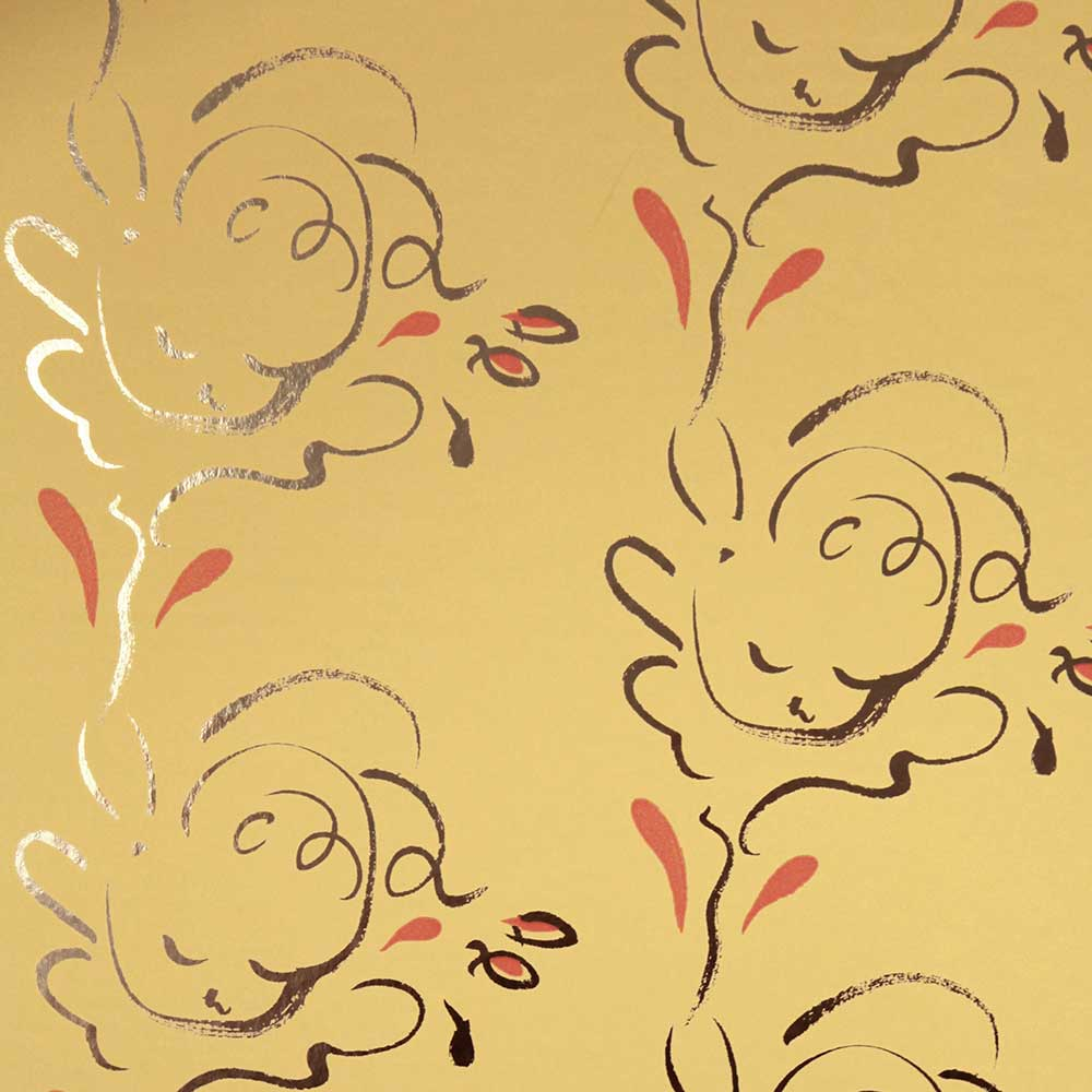 Seraph Wallpaper - Gold / Pavilion Yellow - by Polly Dunbar Decoration