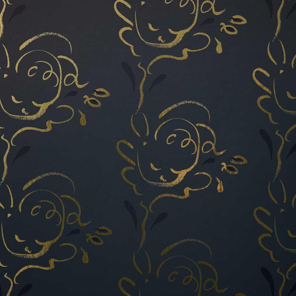 Seraph Wallpaper - Gold / Midnight Blue - by Polly Dunbar Decoration