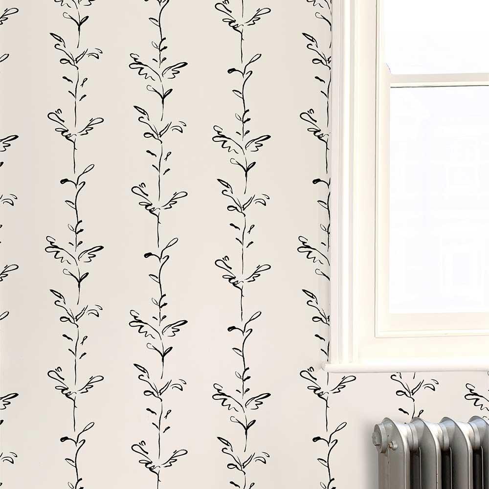 Stem Wallpaper - Black / White - by Polly Dunbar Decoration