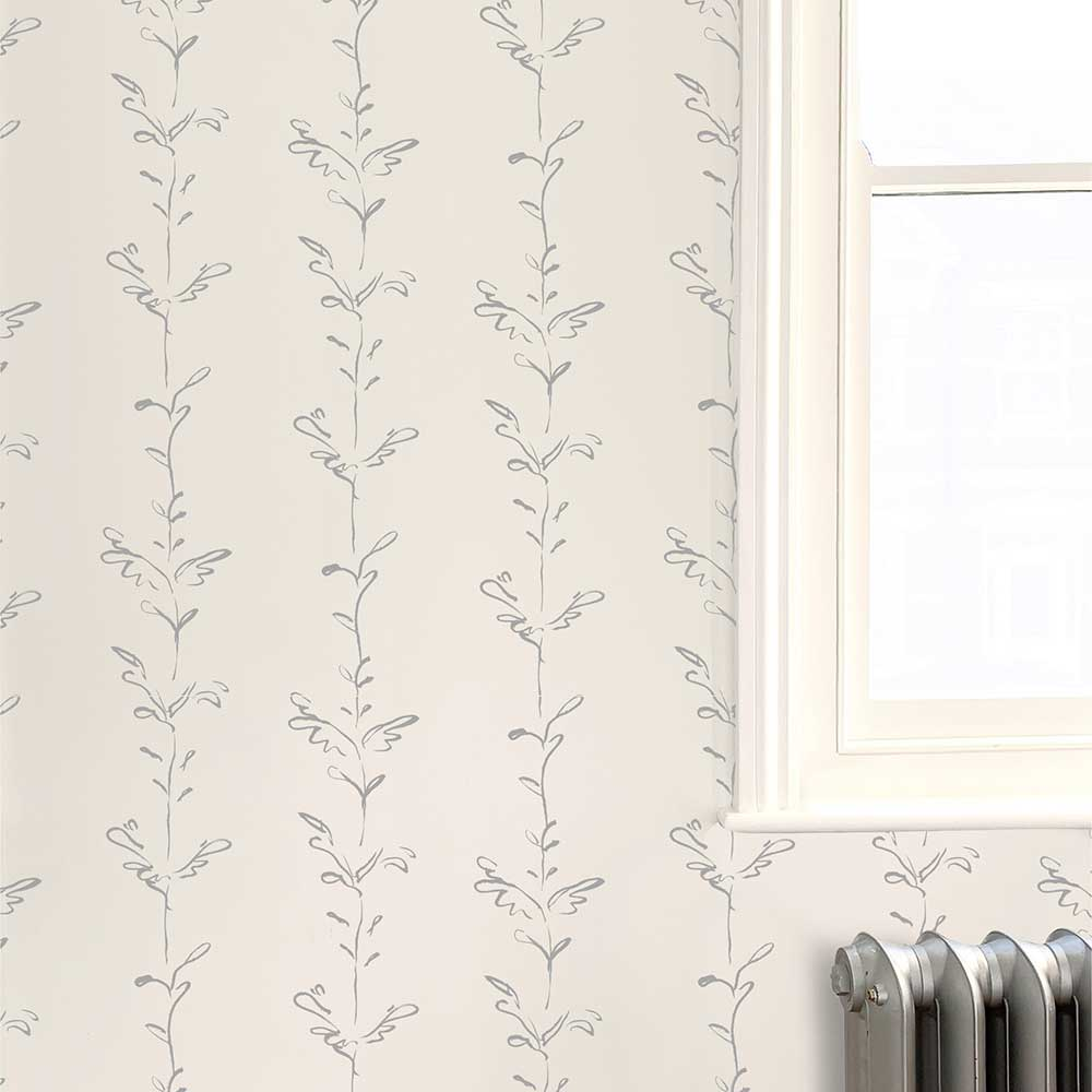 Stem Wallpaper - Graphite grey / white - by Polly Dunbar Decoration