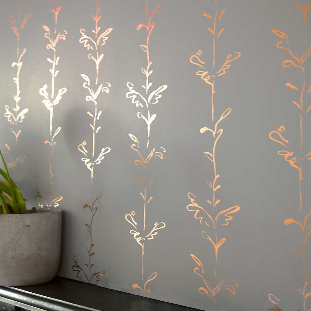 Stem Wallpaper - Copper / Grey - by Polly Dunbar Decoration