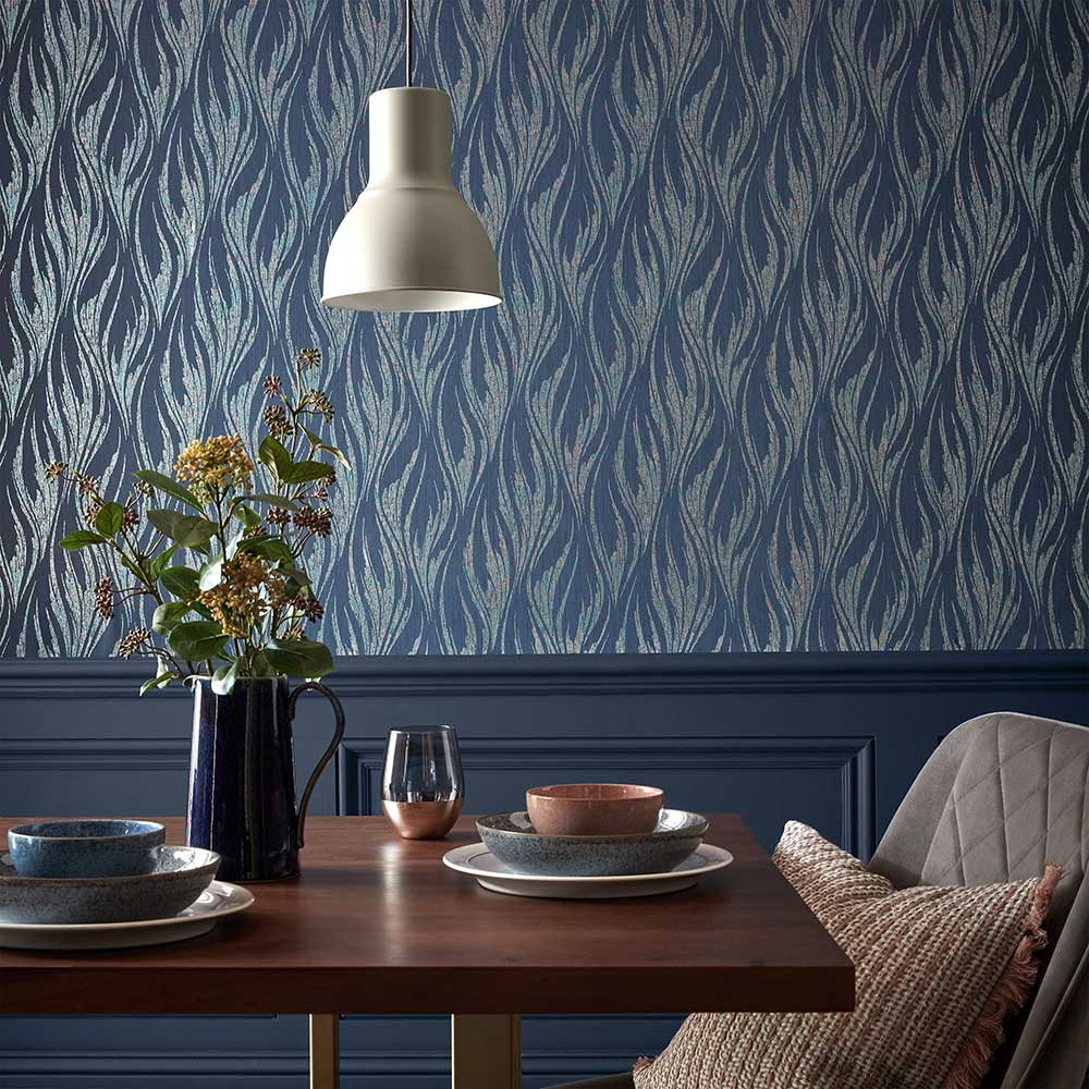 1838 Wallcoverings Ripple Blue Dusk Wallpaper - Product code: 2008-146-03