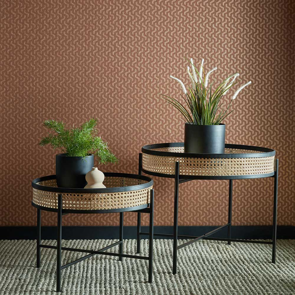 Rattan Wallpaper - Burnt Orange - by 1838 Wallcoverings