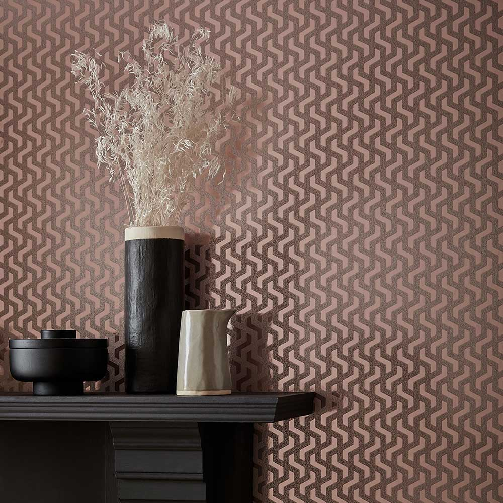1838 Wallcoverings Rattan Rose Gold Foil Wallpaper - Product code: 2008-147-04