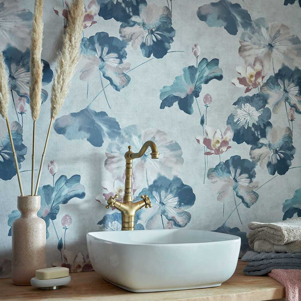 1838 Wallcoverings Water Lilies Blue Dusk Wallpaper - Product code: 2008-143-03