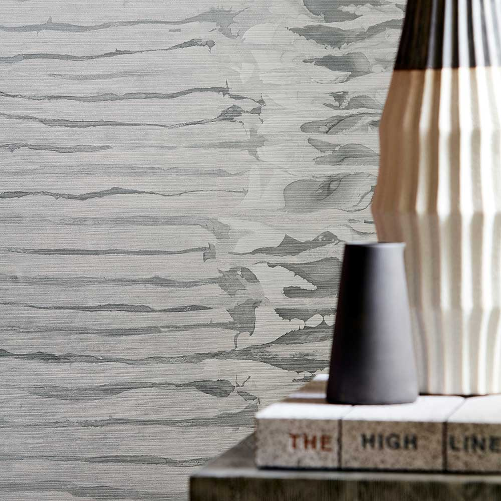 Ripple Stripe Wallpaper - Steel - by Anthology