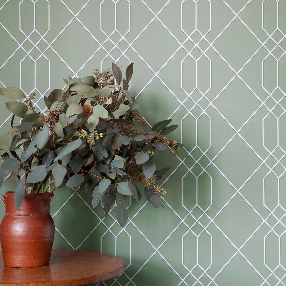 Richmond Trellis Wallpaper - Green - by Hamilton Weston Wallpapers