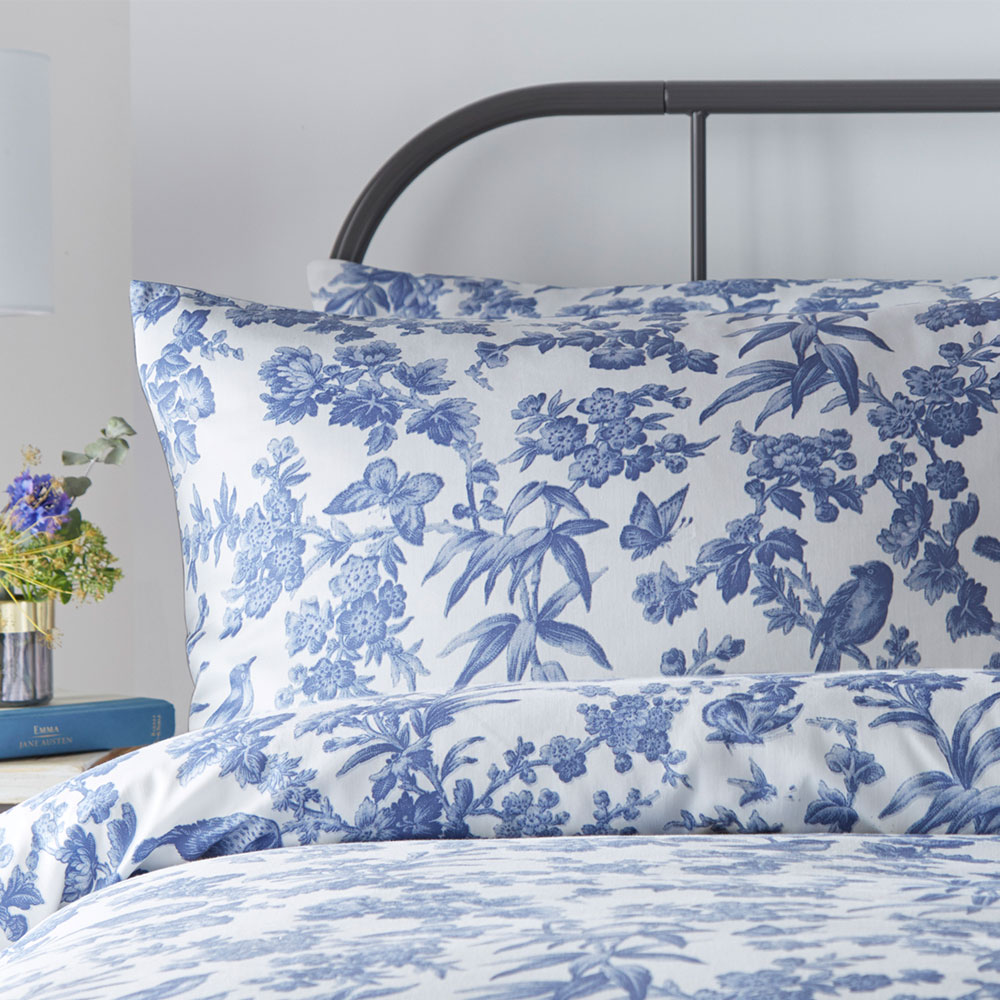 Amelia Housewife Pillowcase Pair - Blue - by Oasis