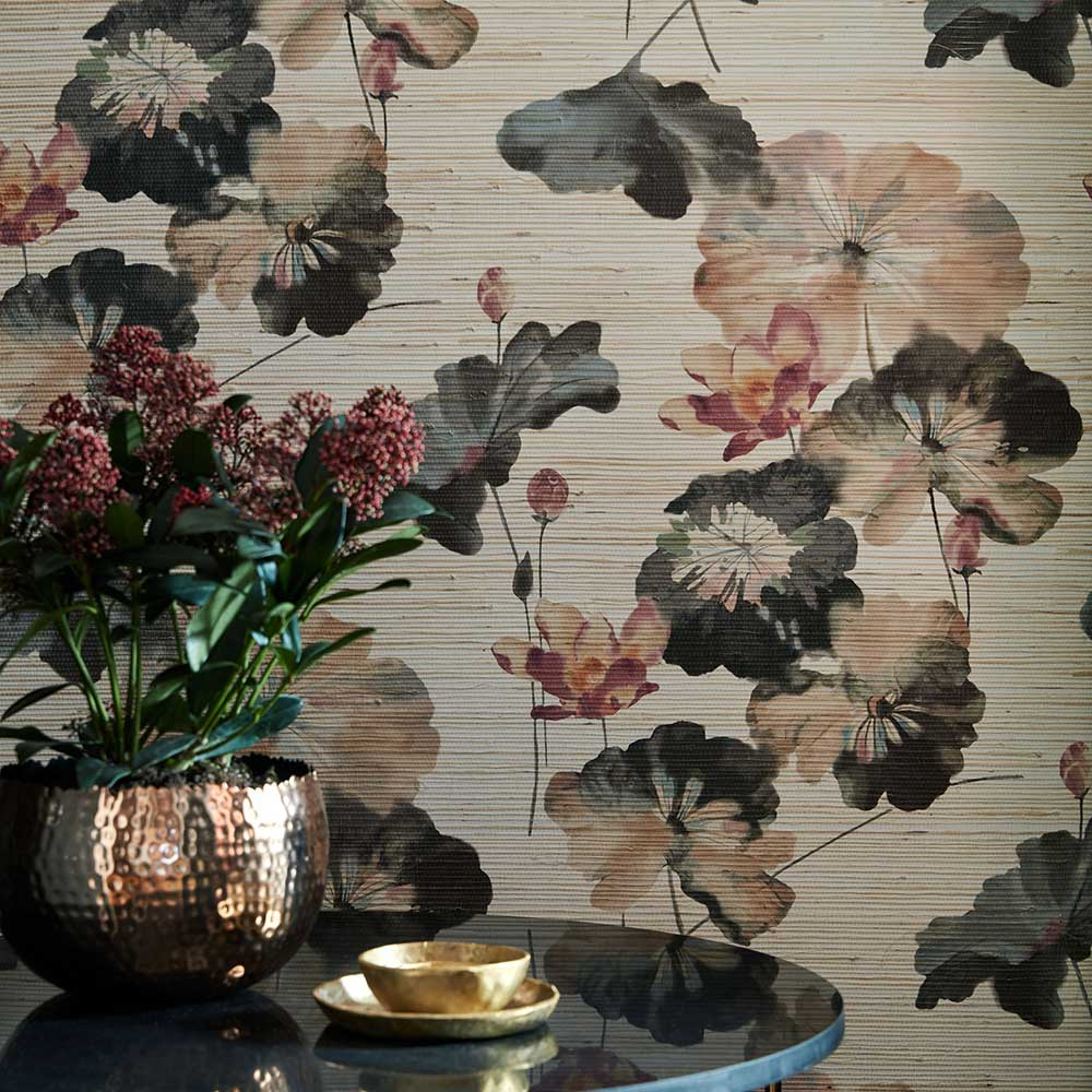 1838 Wallcoverings Water Lilies Grasscloth Bracken Wallpaper - Product code: 2008-143-01
