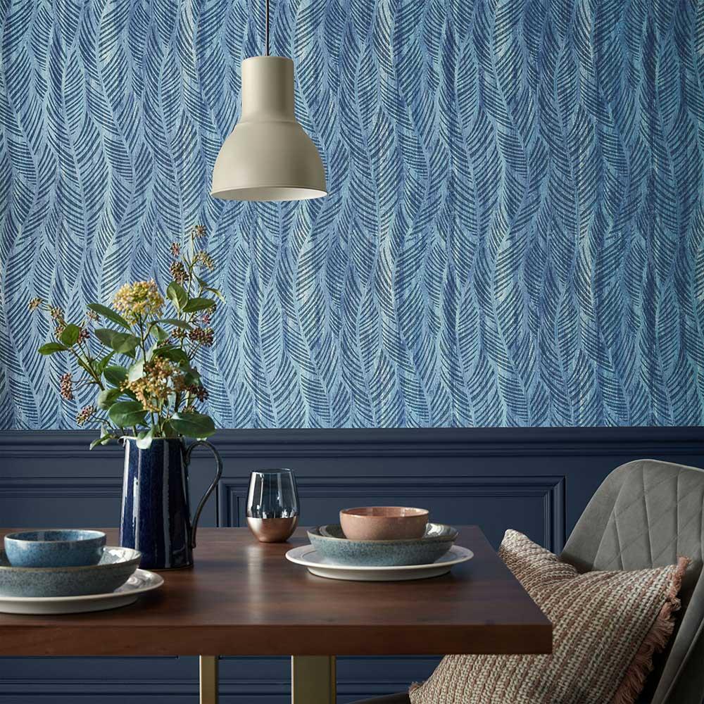 Bramble Wallpaper - Blue Dusk - by 1838 Wallcoverings