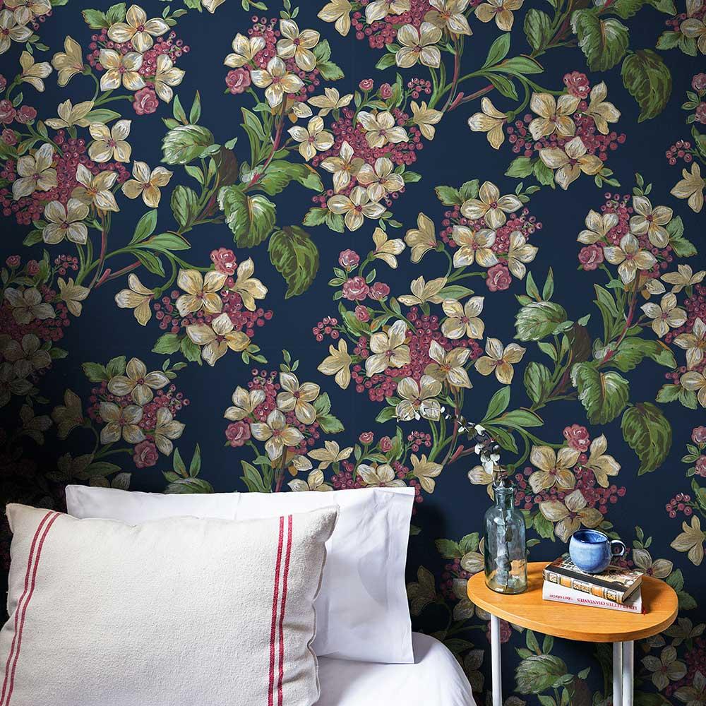 Flowery Wallpaper - Navy - by Coordonne
