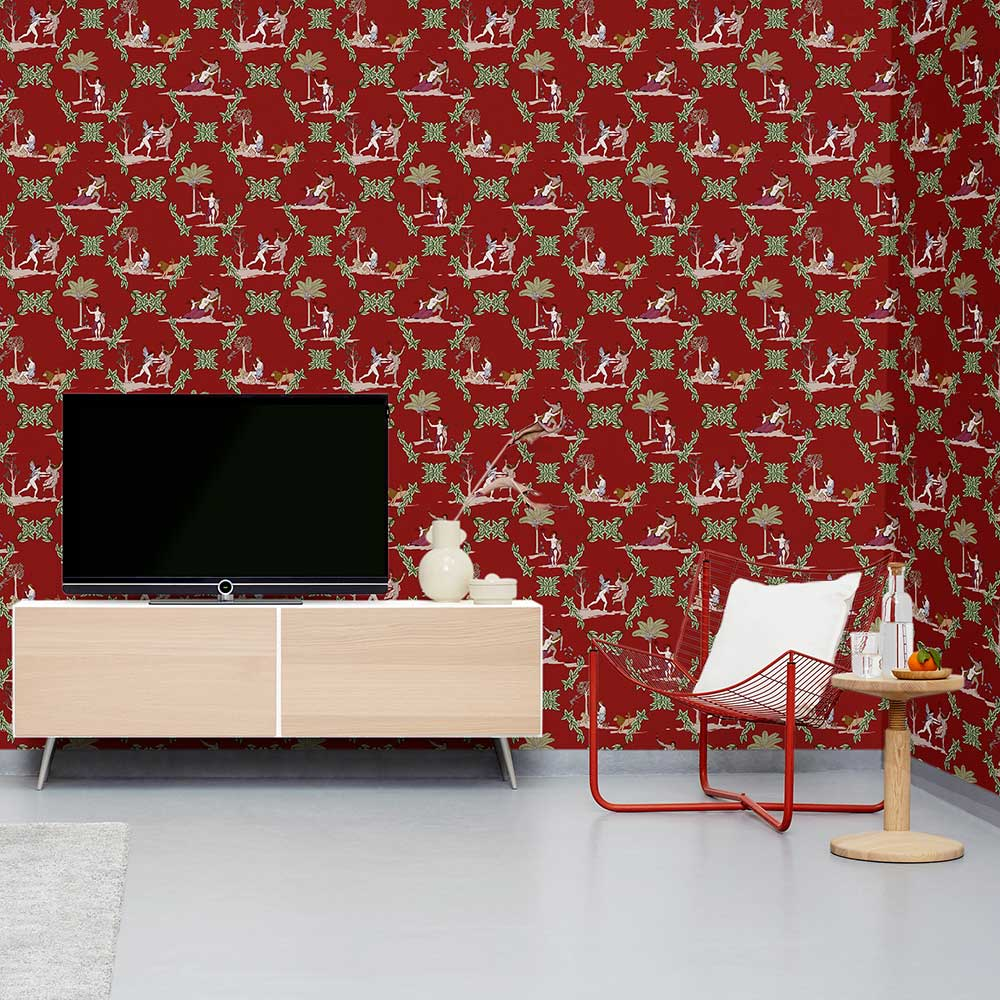 Neo-Bucolic Wallpaper - Red - by Coordonne