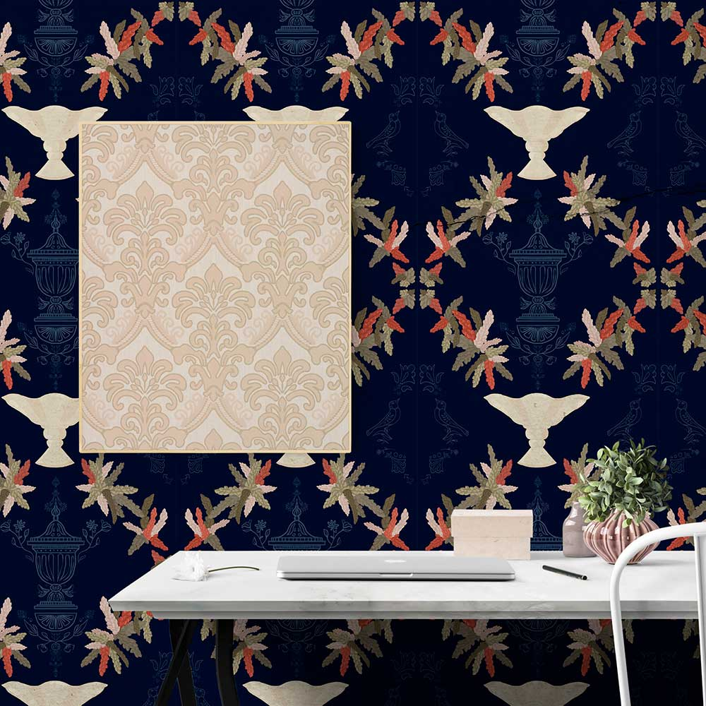 Neo-Rococo Wallpaper - Navy - by Coordonne
