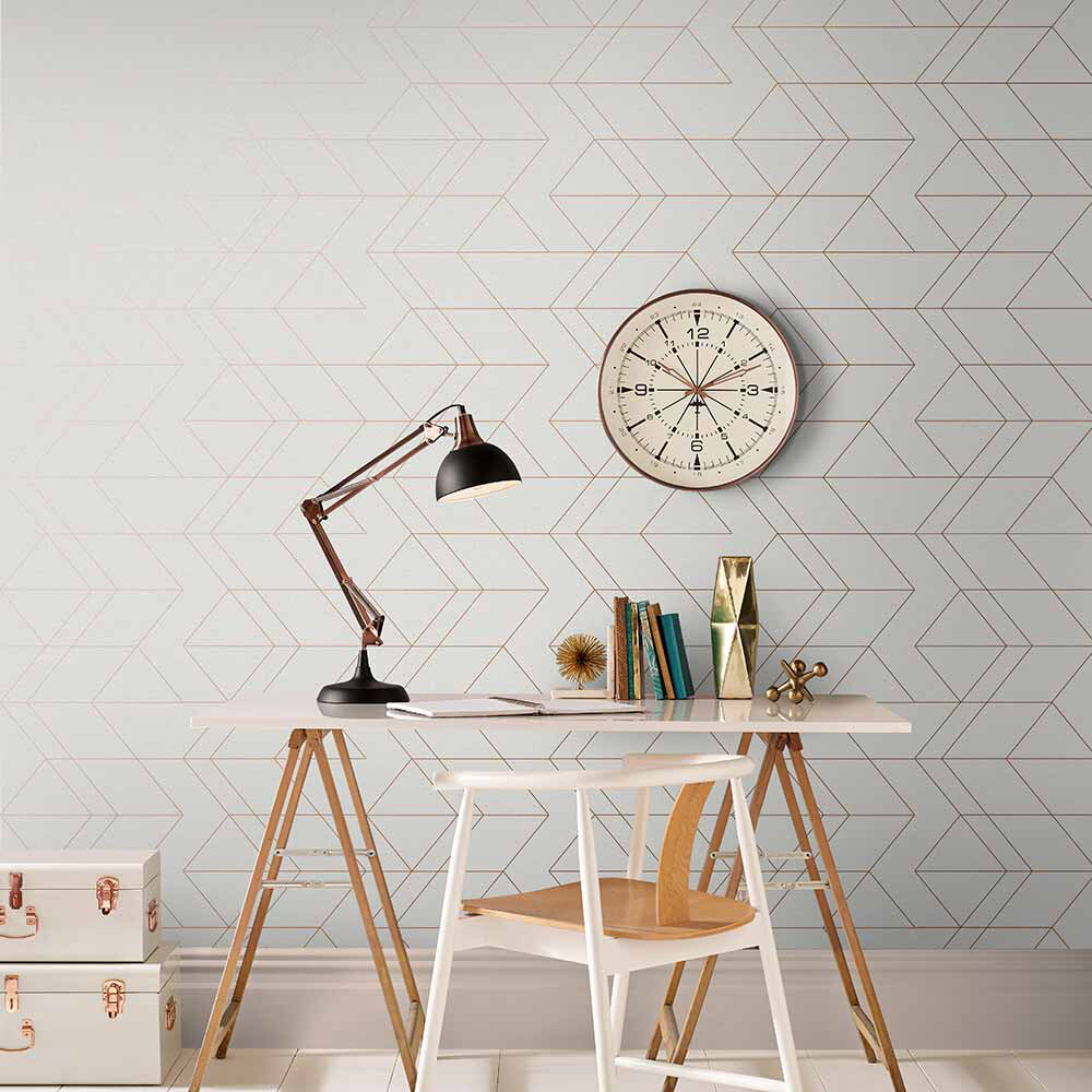 Graham & Brown Balance White / Rose Gold Wallpaper - Product code: 106758