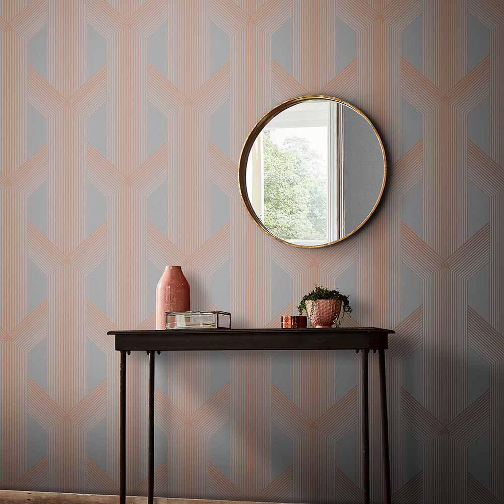 Lagom Wallpaper - Grey / Rose Gold - by Graham & Brown