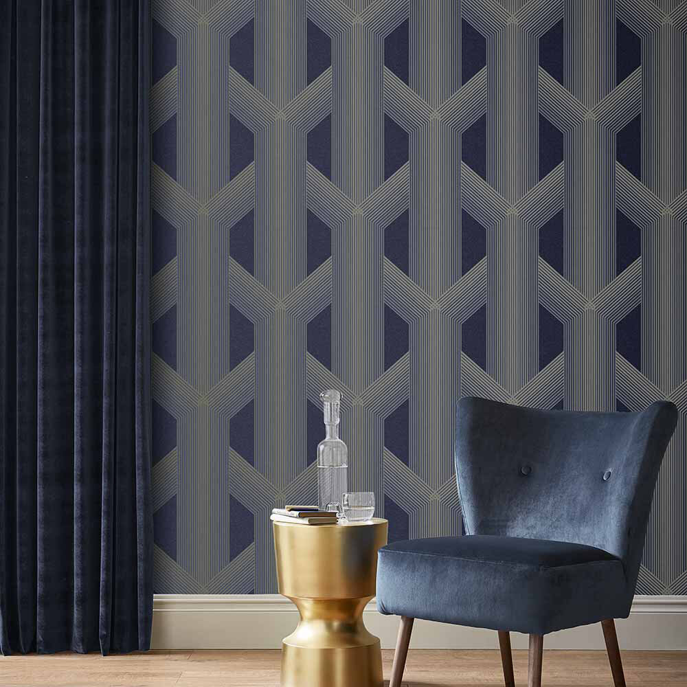 Lagom Wallpaper - Navy / Gold - by Graham & Brown