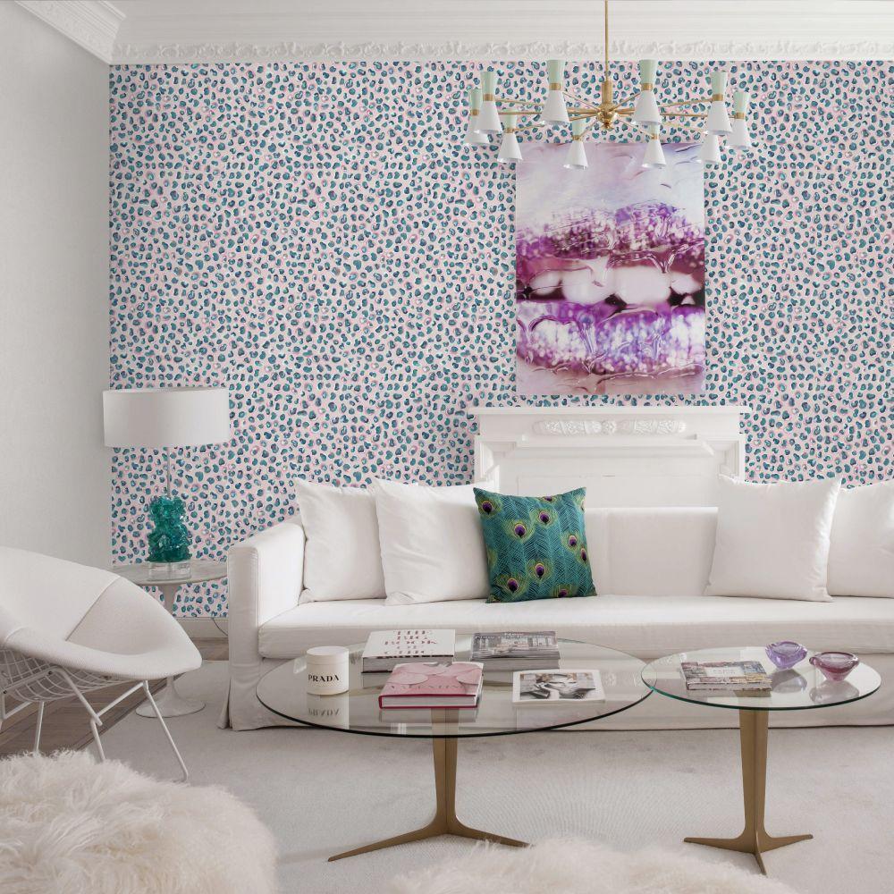 Brush Wallpaper - Pink / Aqua - by Tres Tintas