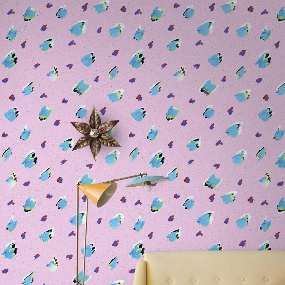 Brush Macro Wallpaper - Pink / Aqua - by Tres Tintas