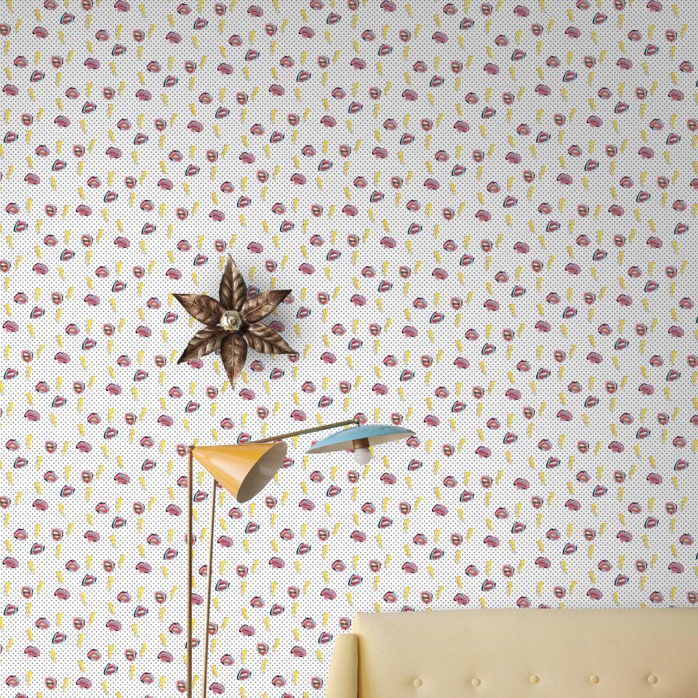 Lips Wallpaper - White - by Tres Tintas