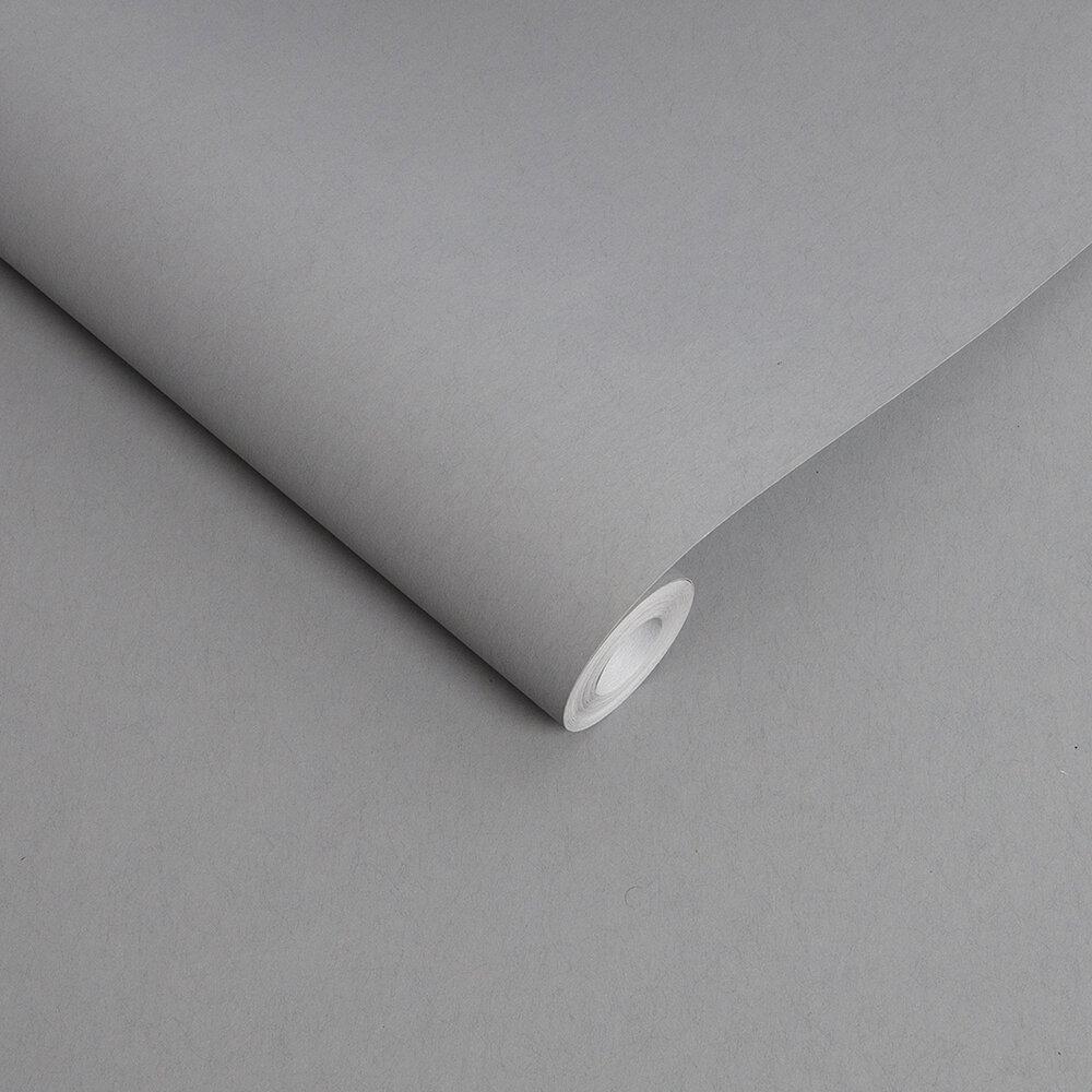 Lagom Plain Wallpaper - Grey - by Graham & Brown