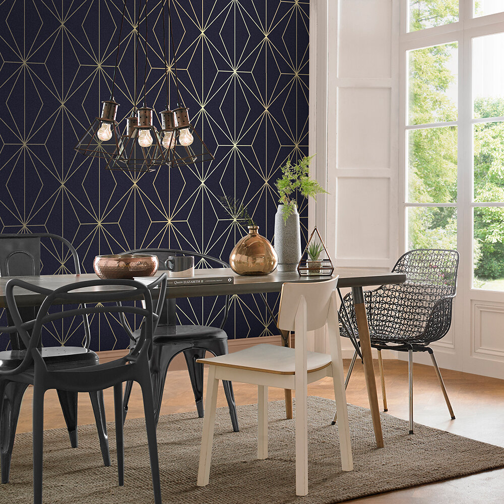 Harmony Wallpaper - Navy - by Graham & Brown