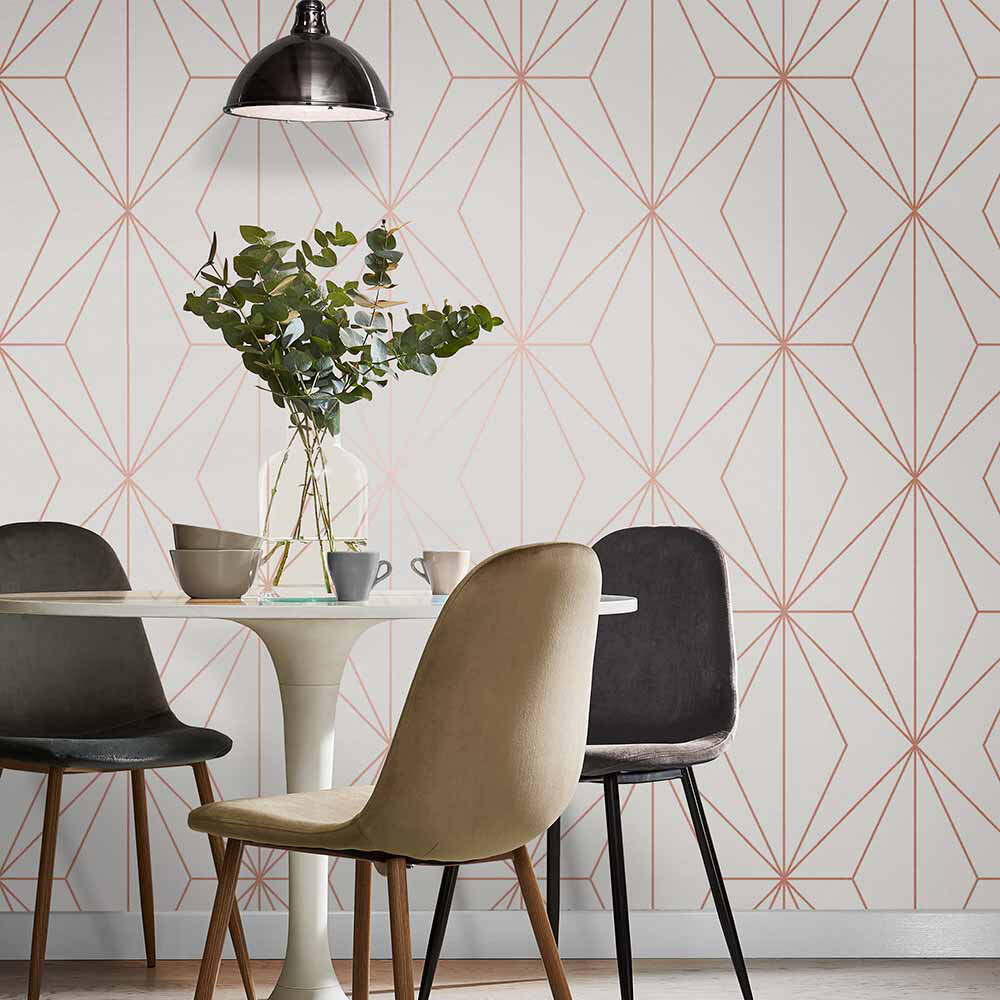 Graham & Brown Harmony White / Rose Gold Wallpaper - Product code: 107589