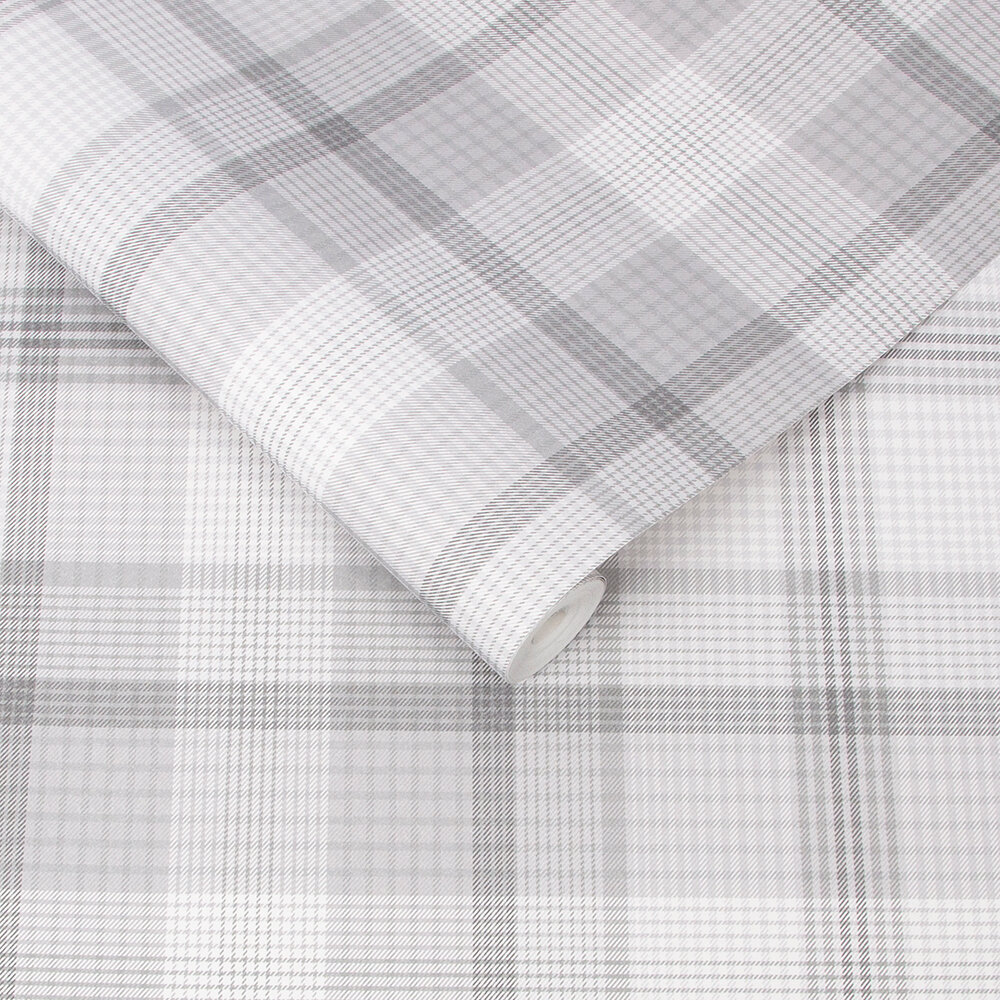 Heritage Plaid Wallpaper - Grey - by Graham & Brown