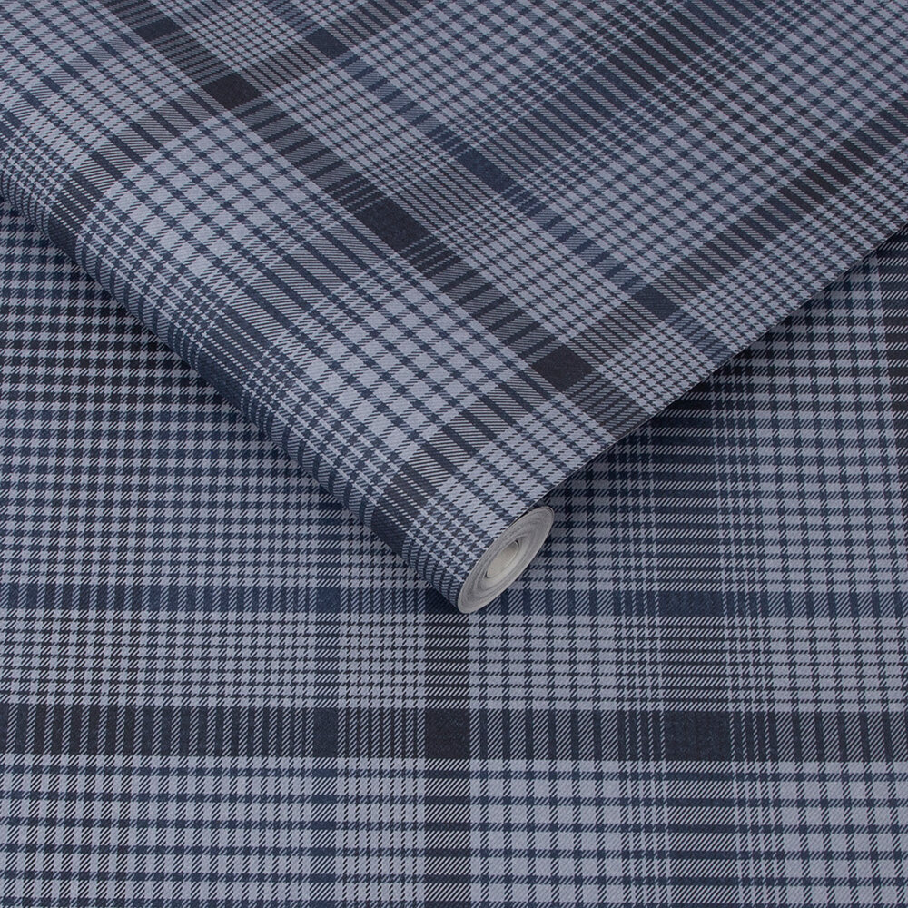 Heritage Plaid Wallpaper - Blue - by Graham & Brown