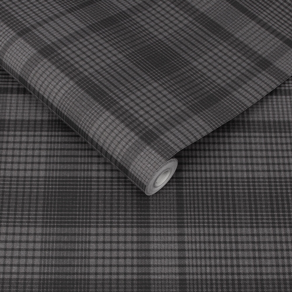 Heritage Plaid Wallpaper - Charcoal - by Graham & Brown