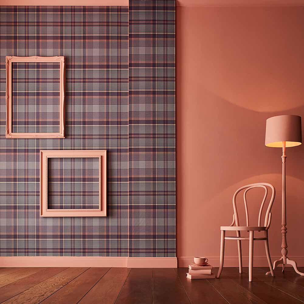 Heritage Plaid Wallpaper - Plum - by Graham & Brown