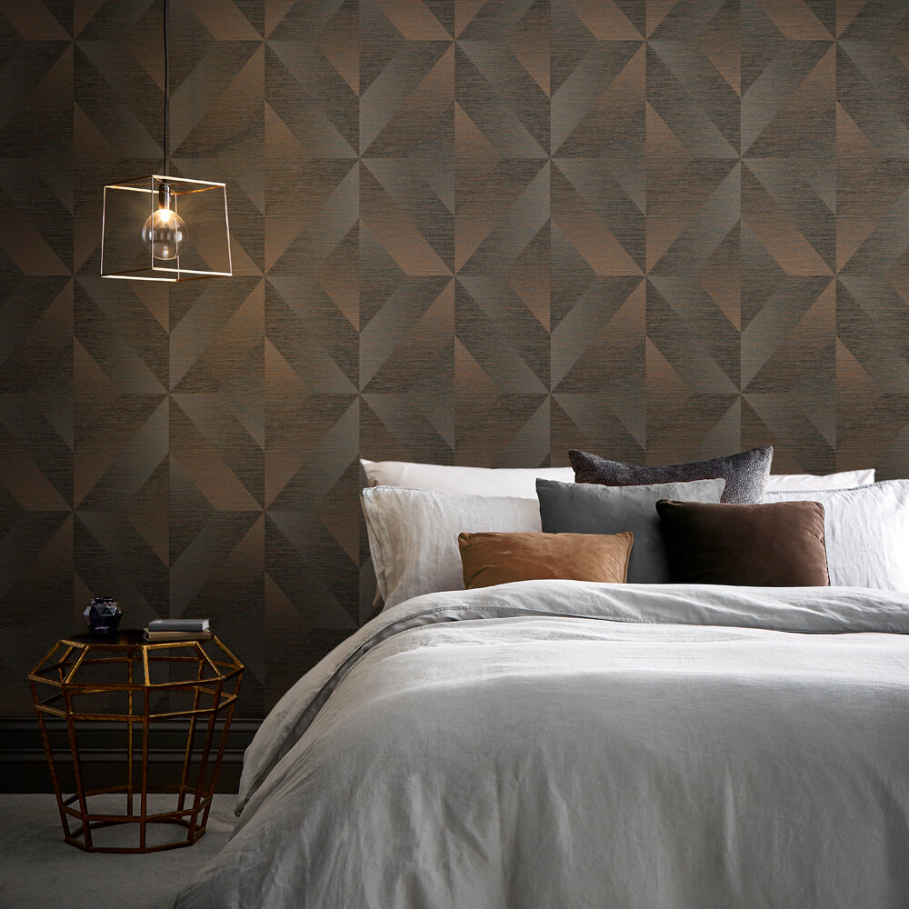 Atelier Geo Wallpaper - Bronze - by Graham & Brown