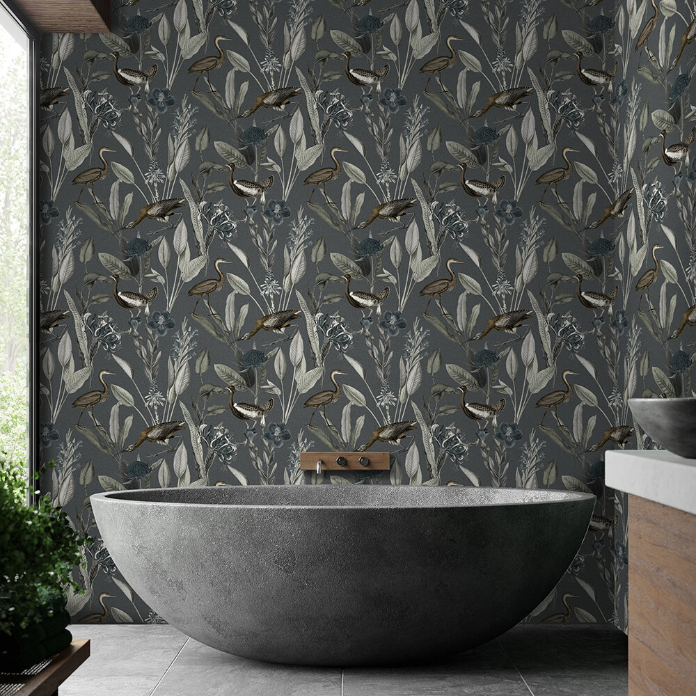 Glasshouse Wallpaper - Midnight - by Graham & Brown