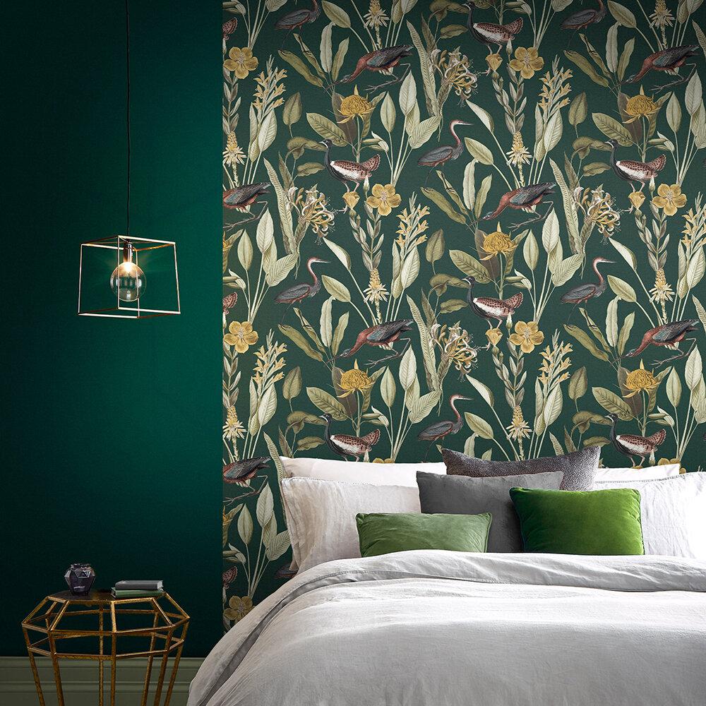 Glasshouse Wallpaper - Green - by Graham & Brown