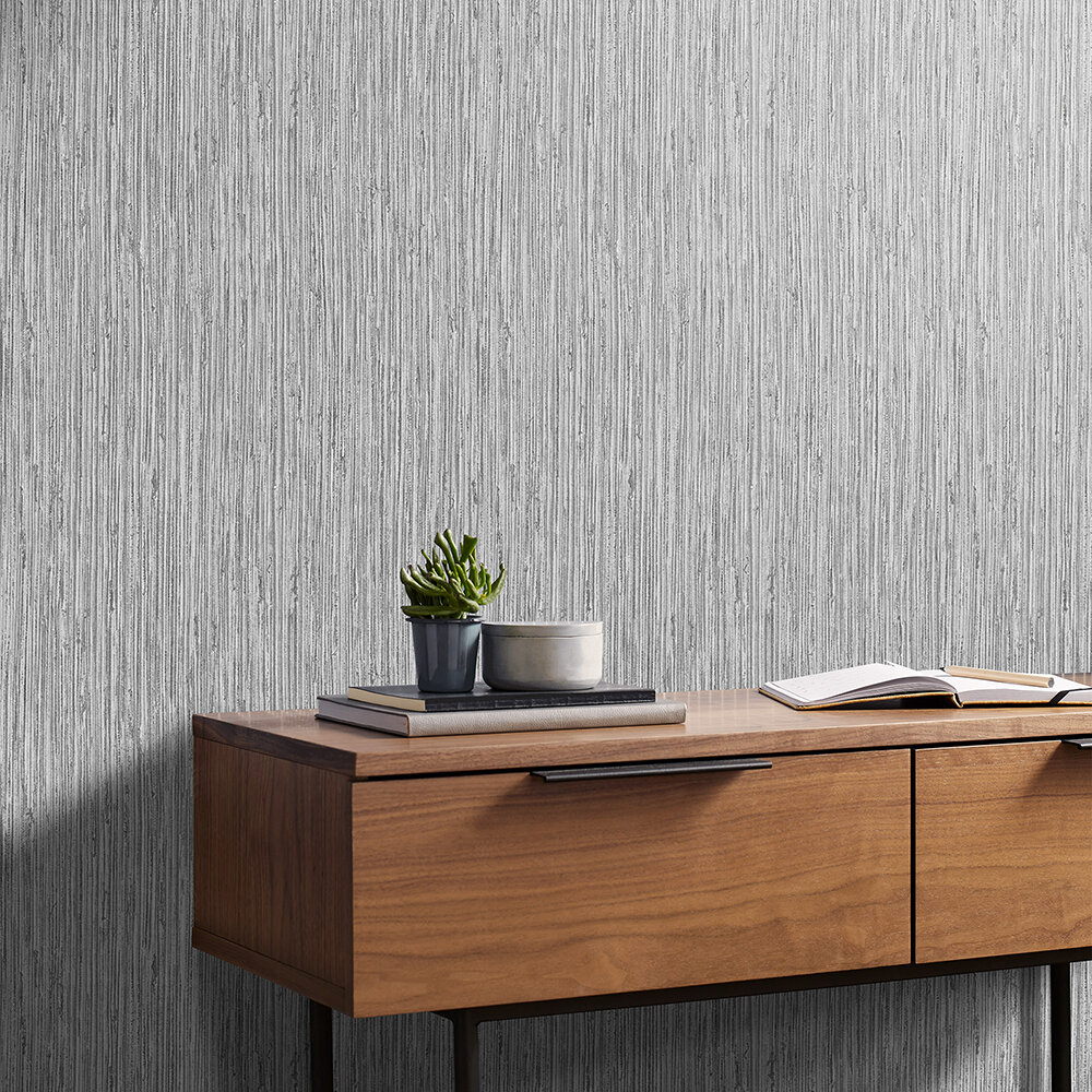 Grasscloth Texture Wallpaper - Grey - by Graham & Brown