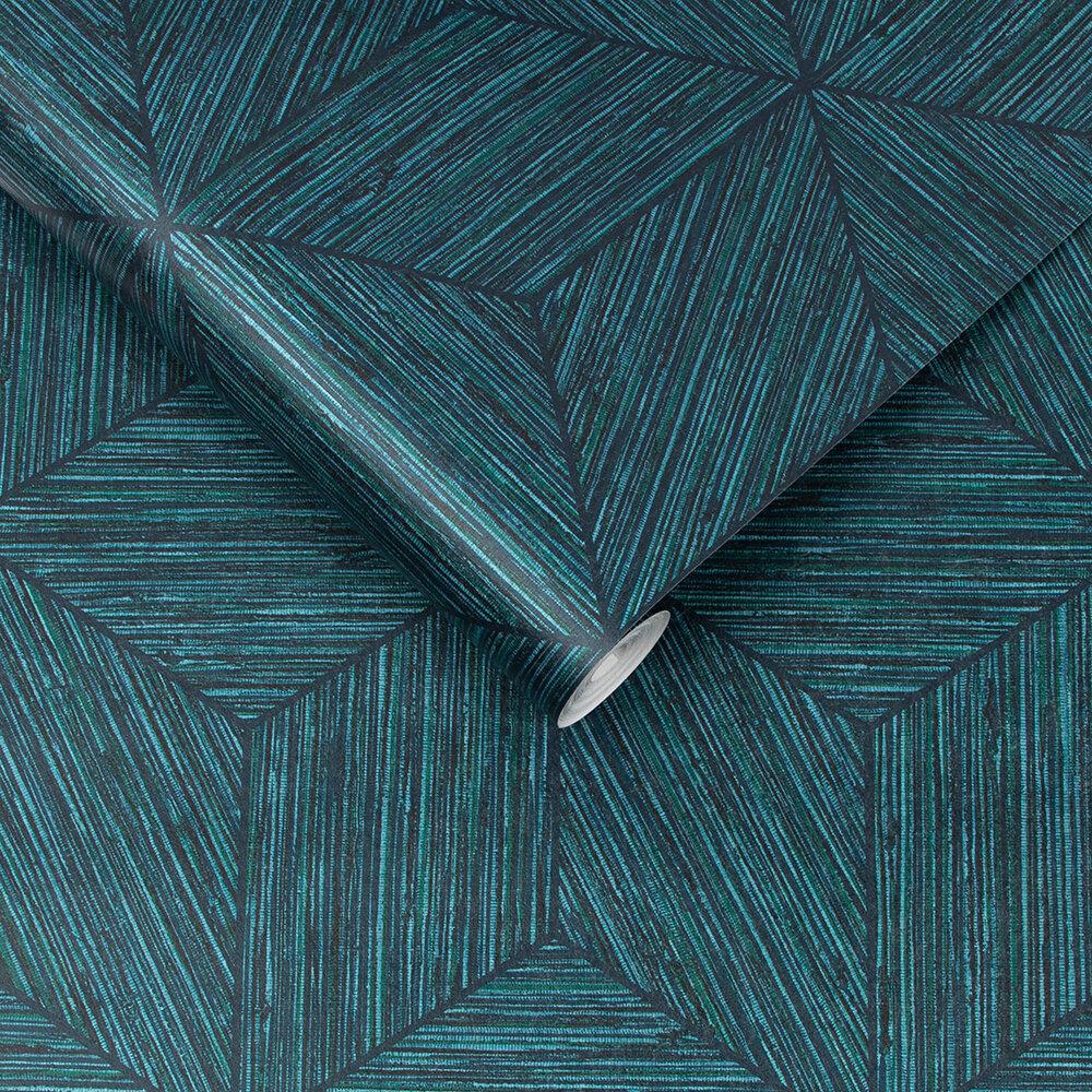 Grasscloth Geo Wallpaper - Teal - by Graham & Brown