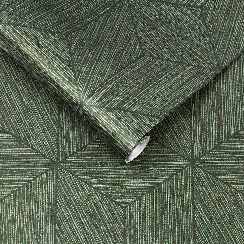 Grasscloth Geo Wallpaper - Pine - by Graham & Brown