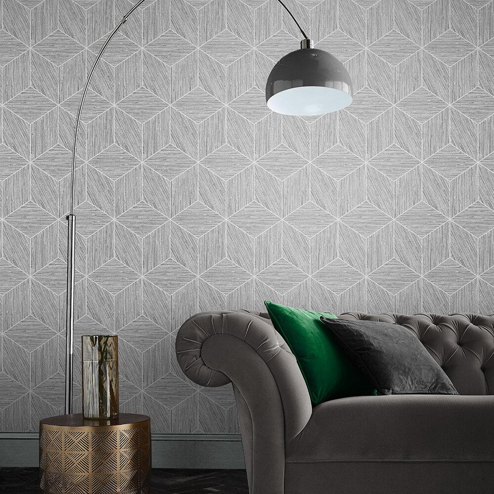Grasscloth Geo Wallpaper - Grey - by Graham & Brown