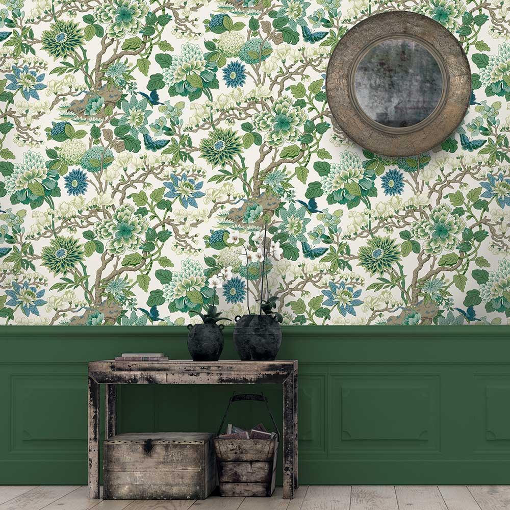 Magnolia Wallpaper - Emerald / Teal - by G P & J Baker