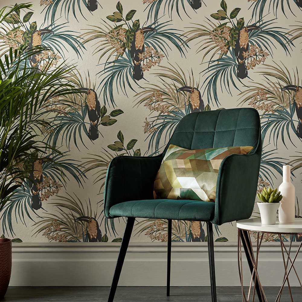 Le Toucan Wallpaper - Emerald - by 1838 Wallcoverings