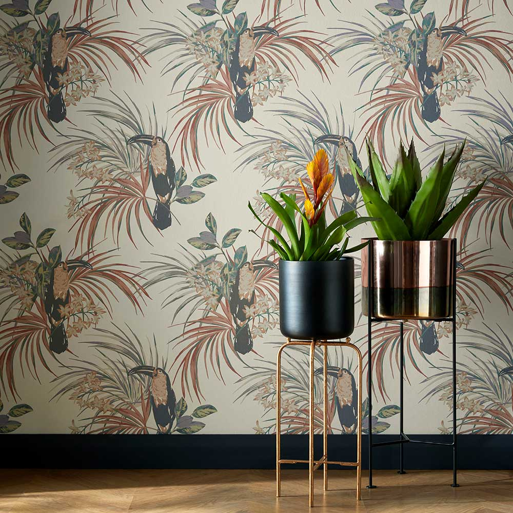 Le Toucan Wallpaper - Amber Glow - by 1838 Wallcoverings