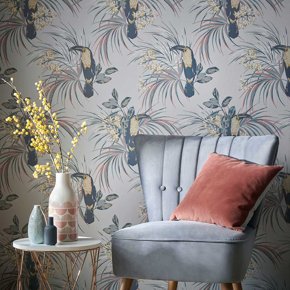 Le Toucan Wallpaper - Soft Grey - by 1838 Wallcoverings