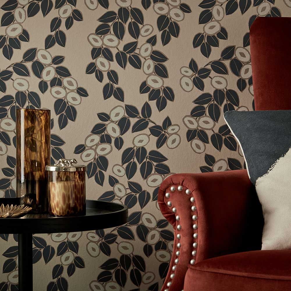 1838 Wallcoverings Rosetta Jet Wallpaper - Product code: 1907-136-03