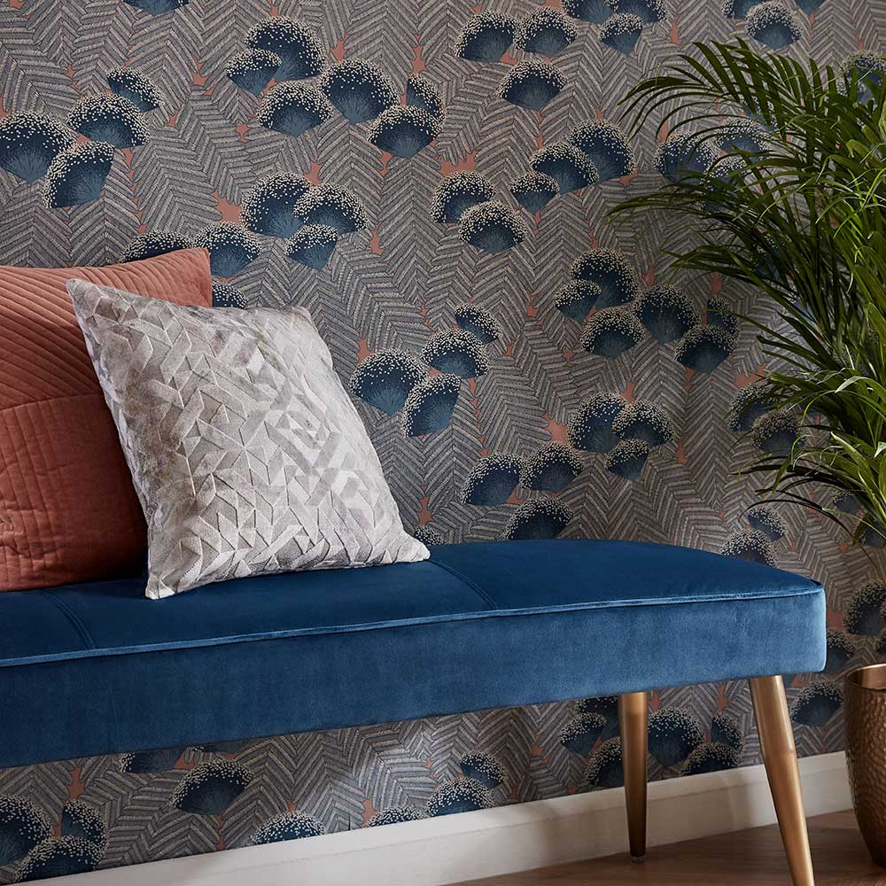 Clarice Wallpaper - Soft Blue - by 1838 Wallcoverings